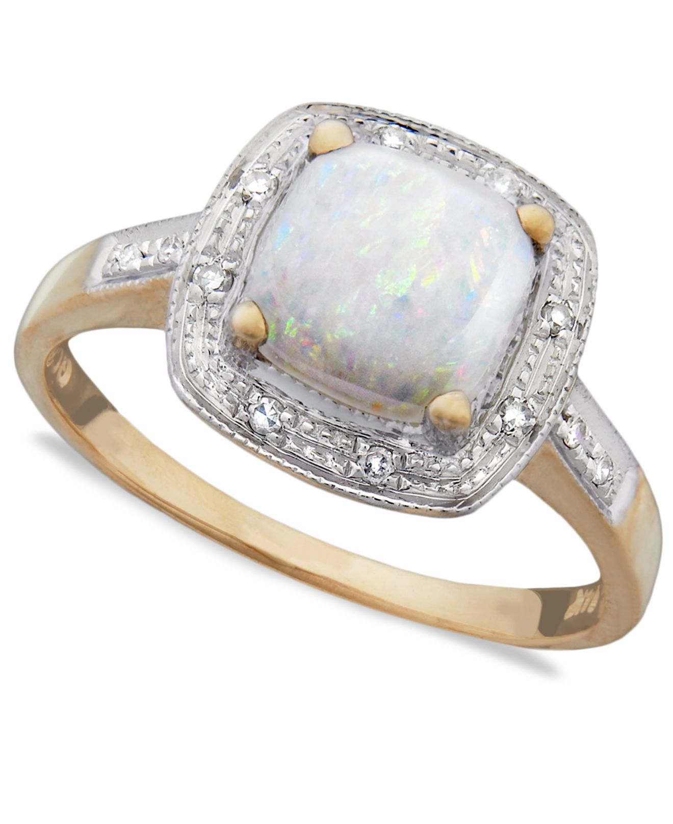 macy s 10k gold ring opal 9 10 ct t w and