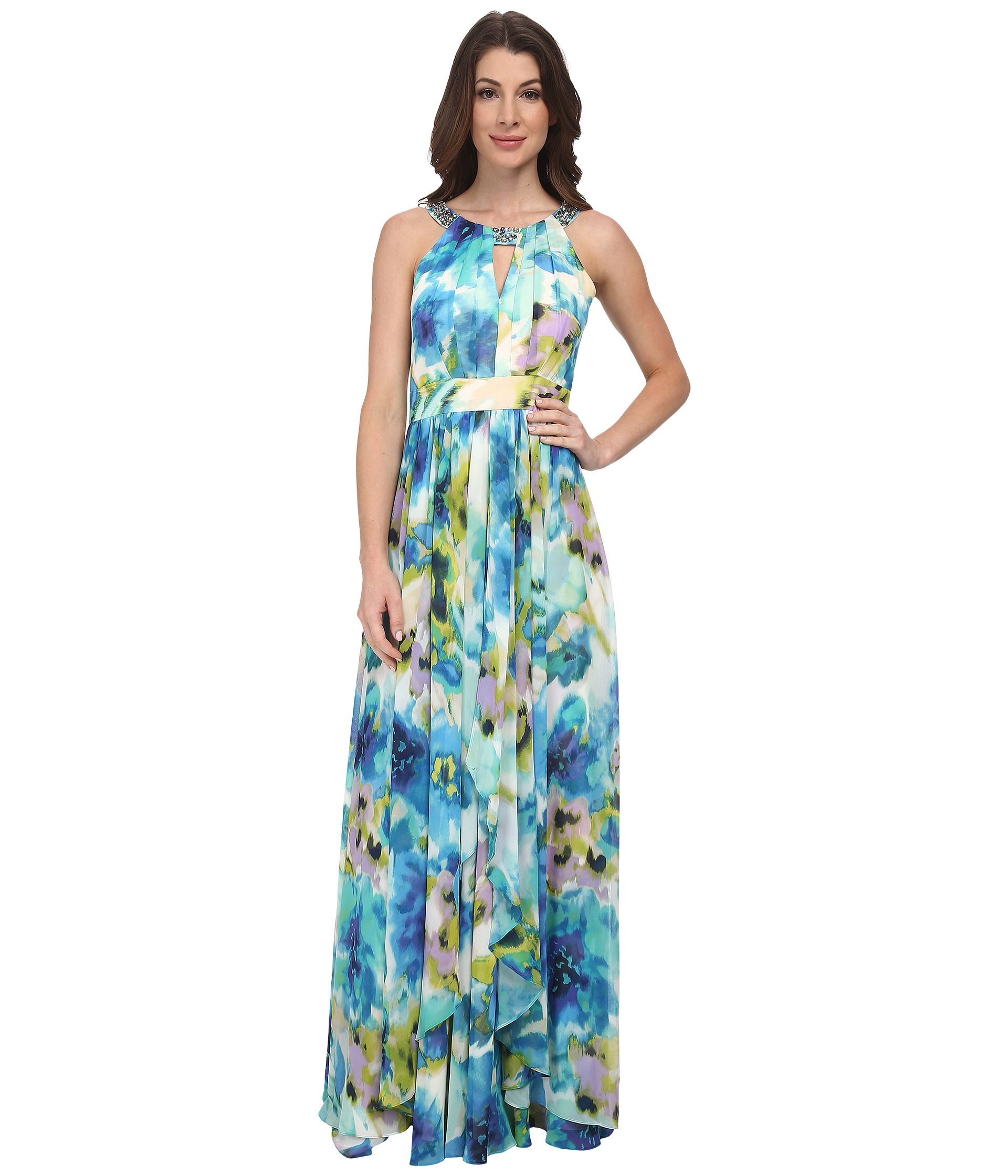 Eliza J Halter Maxi With Keyhole And Waterfall Skirt Lyst