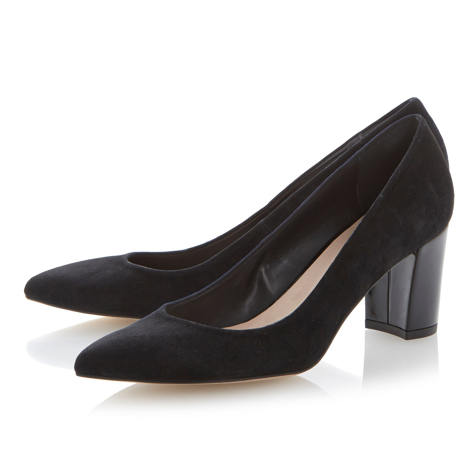 Dune Anika Pointed Toe Block Heel Court Shoes in Black | Lyst