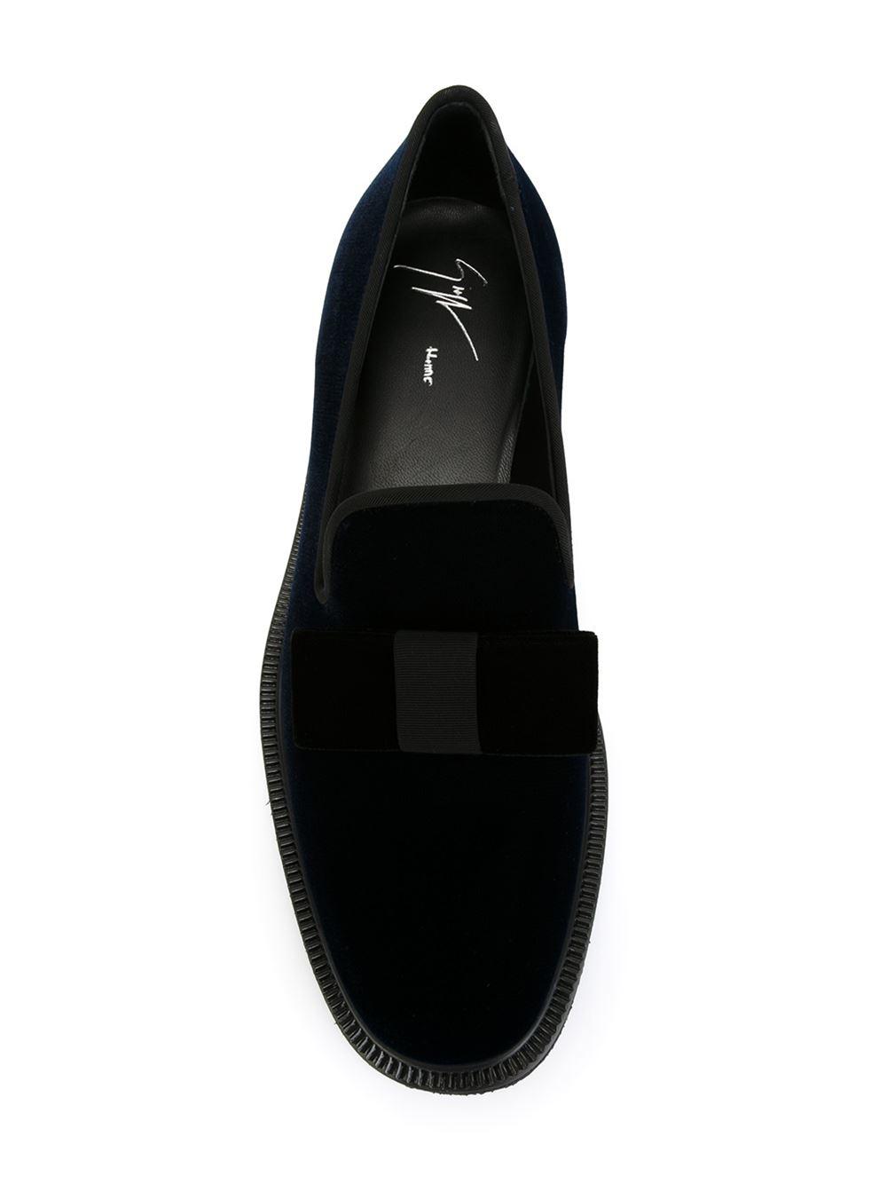 98d14f590970e Giuseppe Zanotti Velvet Bow Slippers in Blue for Men - Lyst