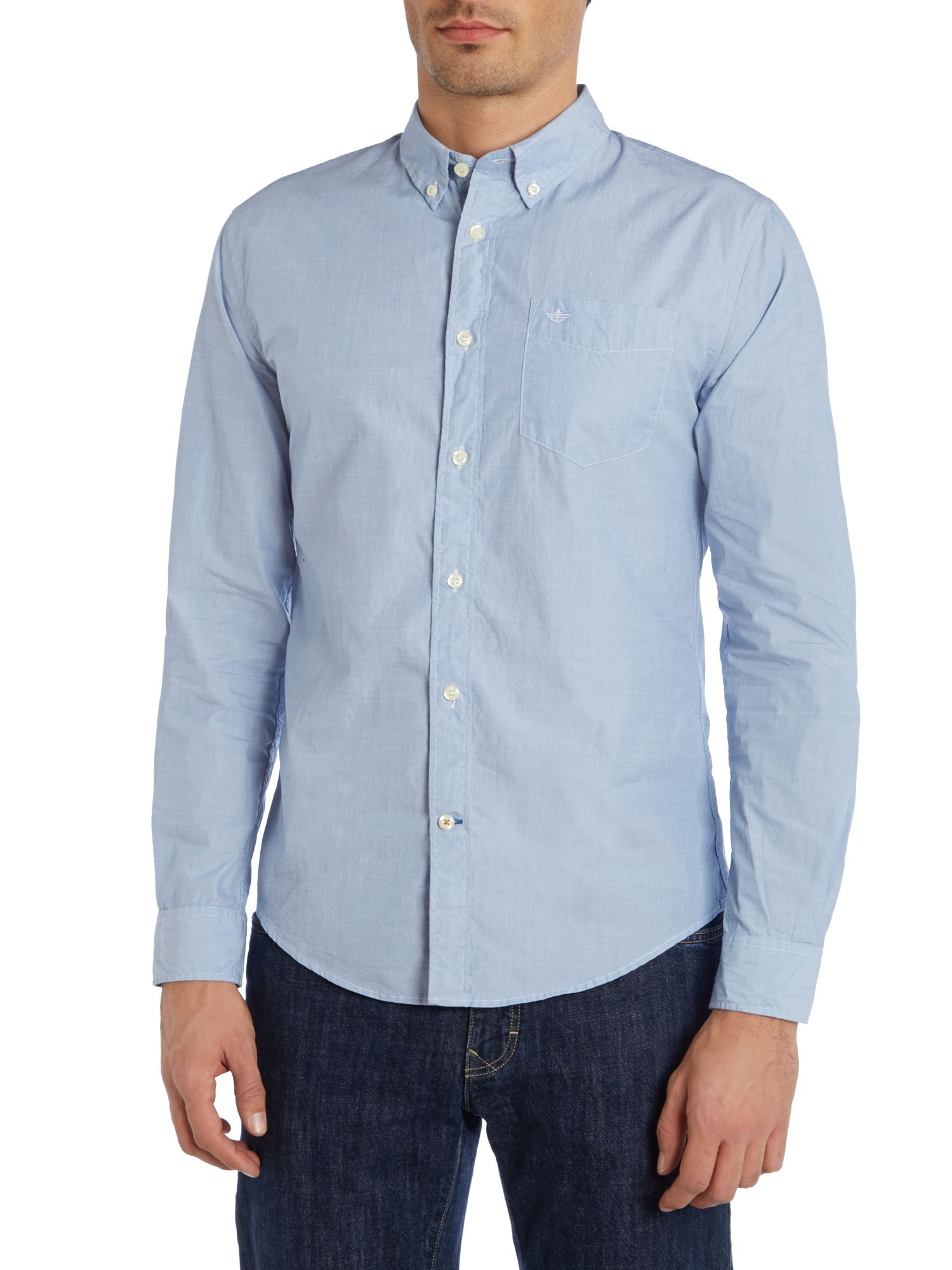 Dockers Blue Cotton Oxford Shirt With Button Down Collar