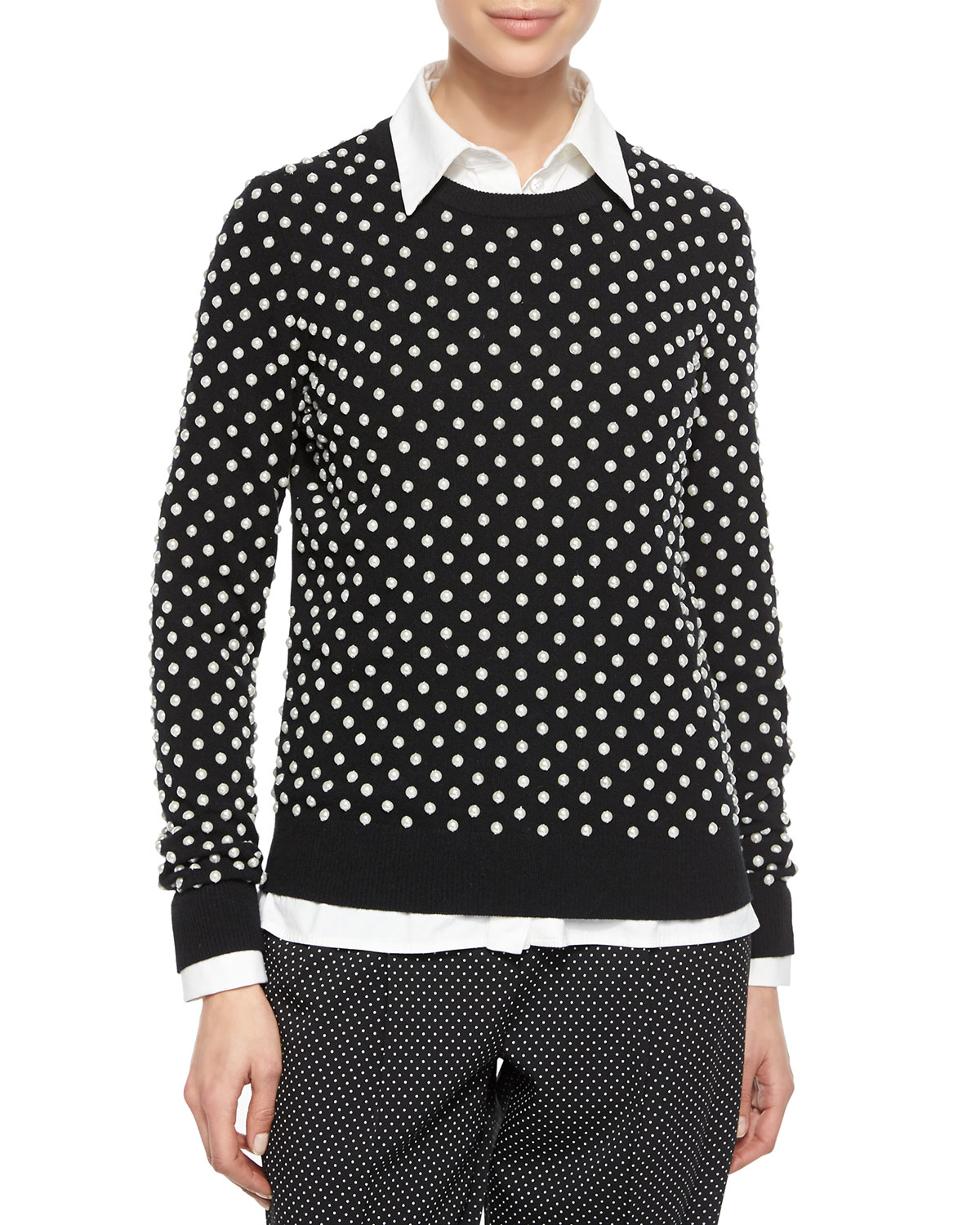 michael kors pearlescent hand embroidered sweater in black lyst. Black Bedroom Furniture Sets. Home Design Ideas