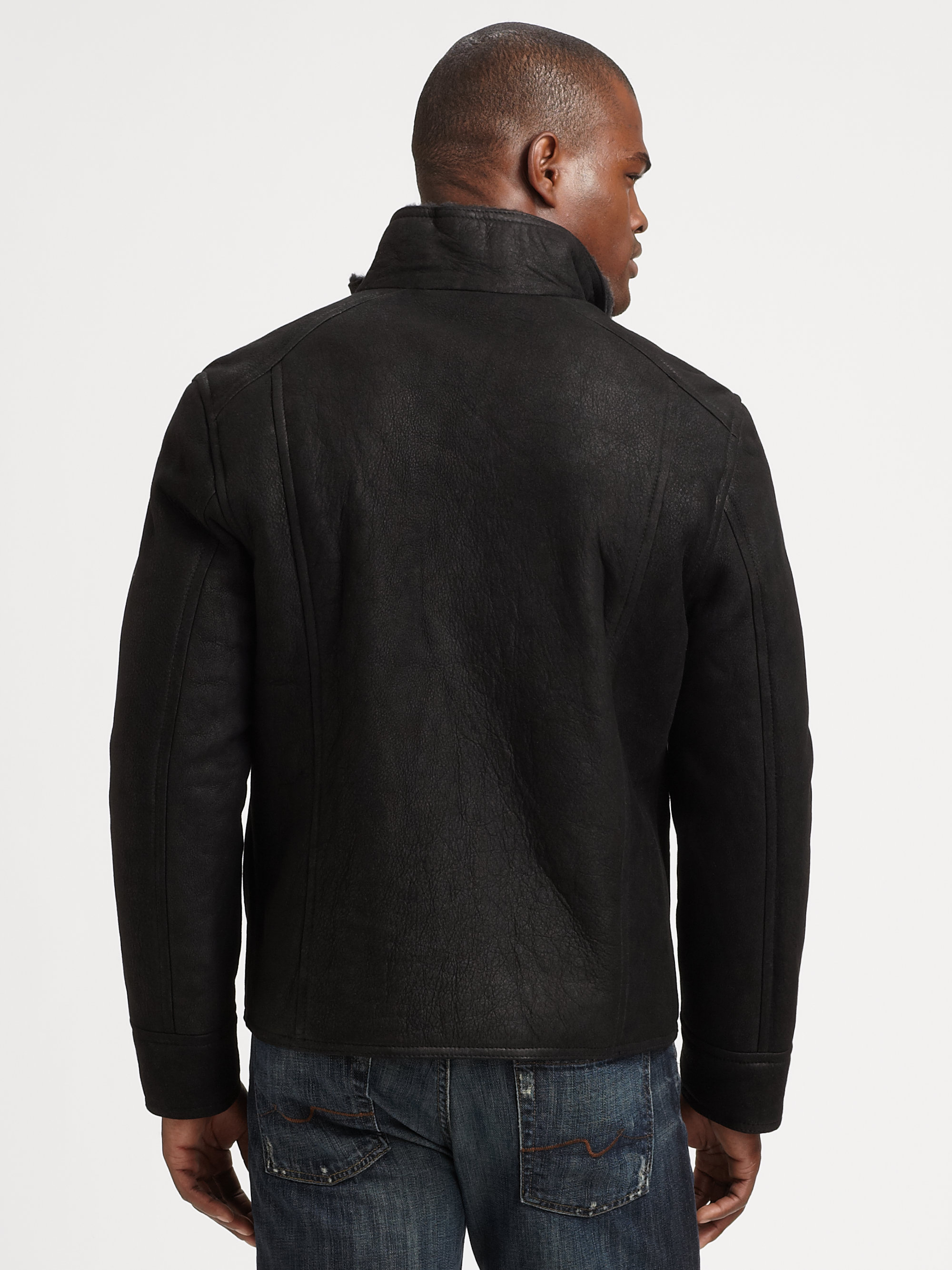 Suede Jacket Outfits For Men 20 Ways To Wear A Suede Jacket: Andrew Marc Vintage Oiled Suede Jacket In Black For Men