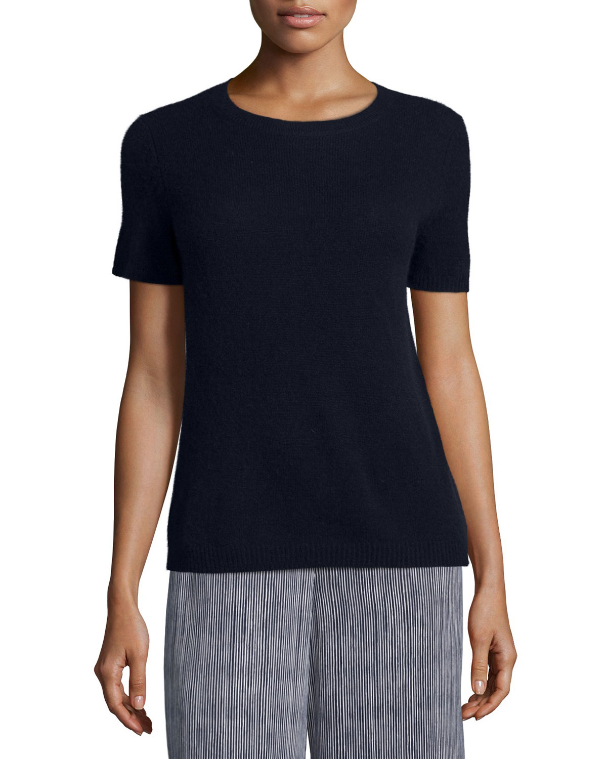 Theory Tolleree B Short-sleeve Cashmere Sweater in Black | Lyst