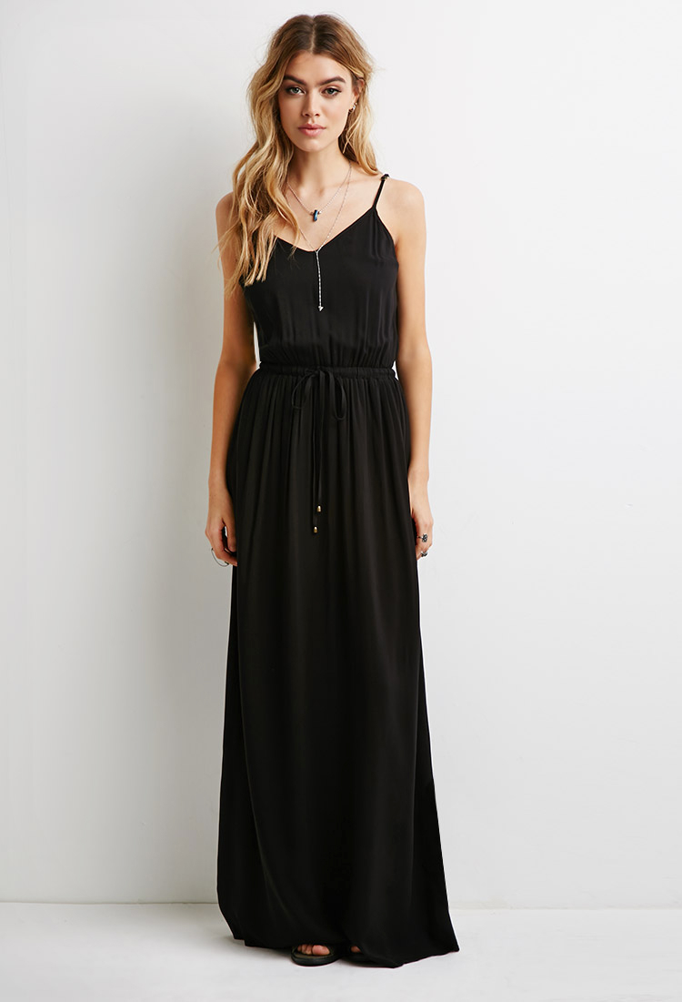 57ed233bd0 Forever 21 V-neck Cami Maxi Dress in Black - Lyst