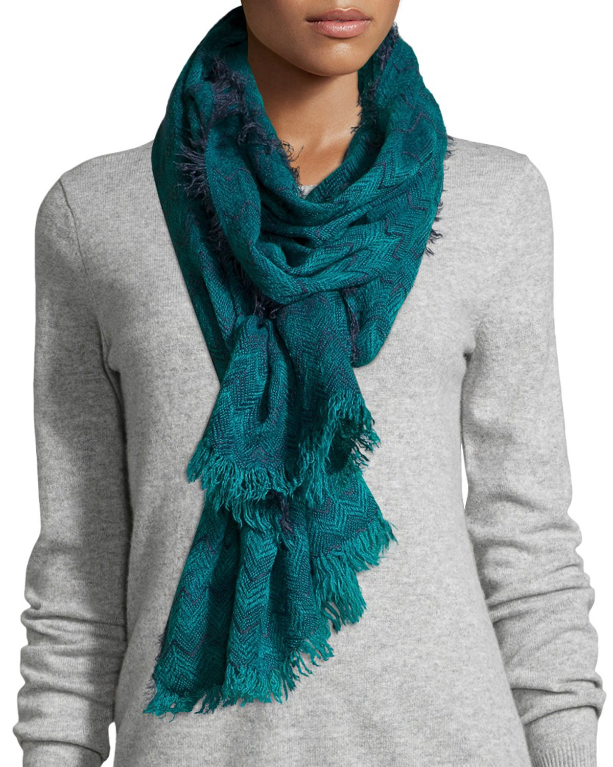 neiman two tone zigzag fringe scarf in blue lyst