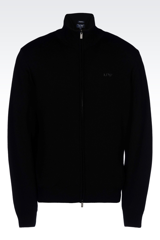 Armani jeans Full Zip Cardigan In Virgin Wool in Black for Men | Lyst