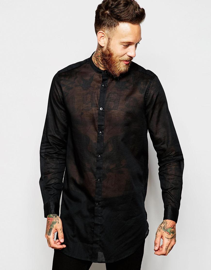 96b4cddf2 ASOS Shirt In Longline With Sheer Fabric And Grandad Collar in Black ...