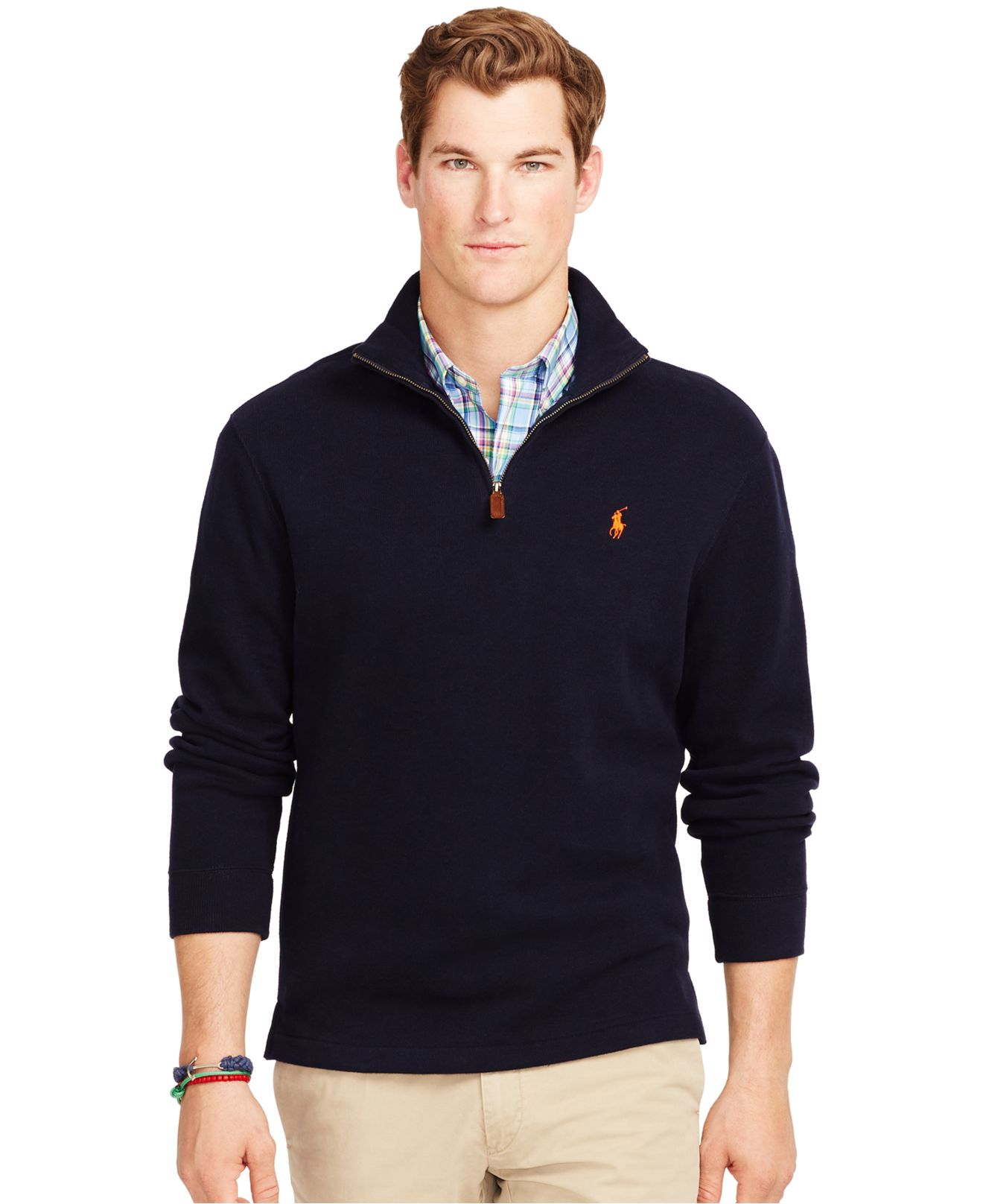 polo ralph lauren french rib half zip pullover in blue for men hunter. Black Bedroom Furniture Sets. Home Design Ideas