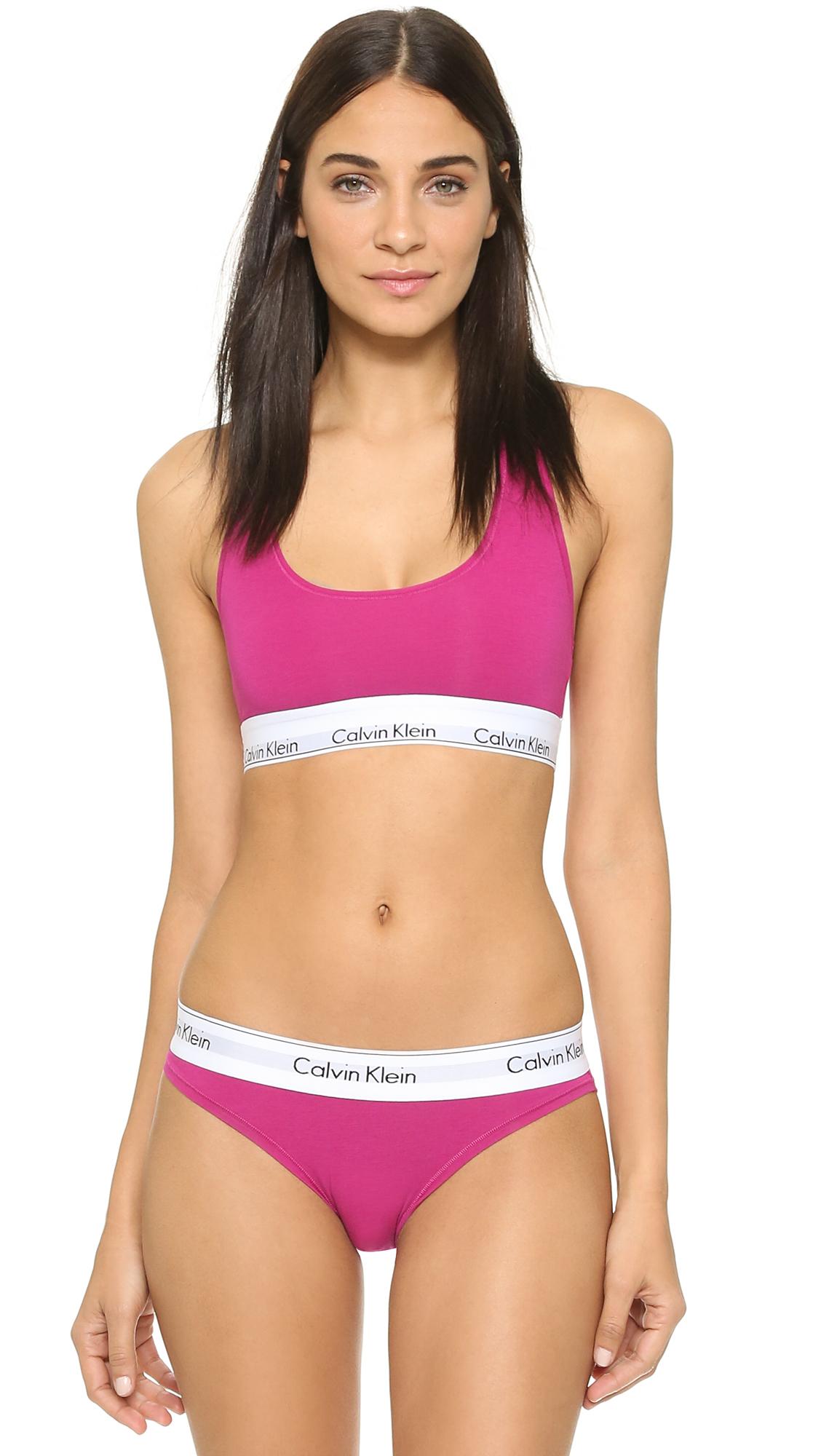 62cec0814b2 Lyst - Calvin Klein Modern Cotton Bralette - Black Foil in Pink
