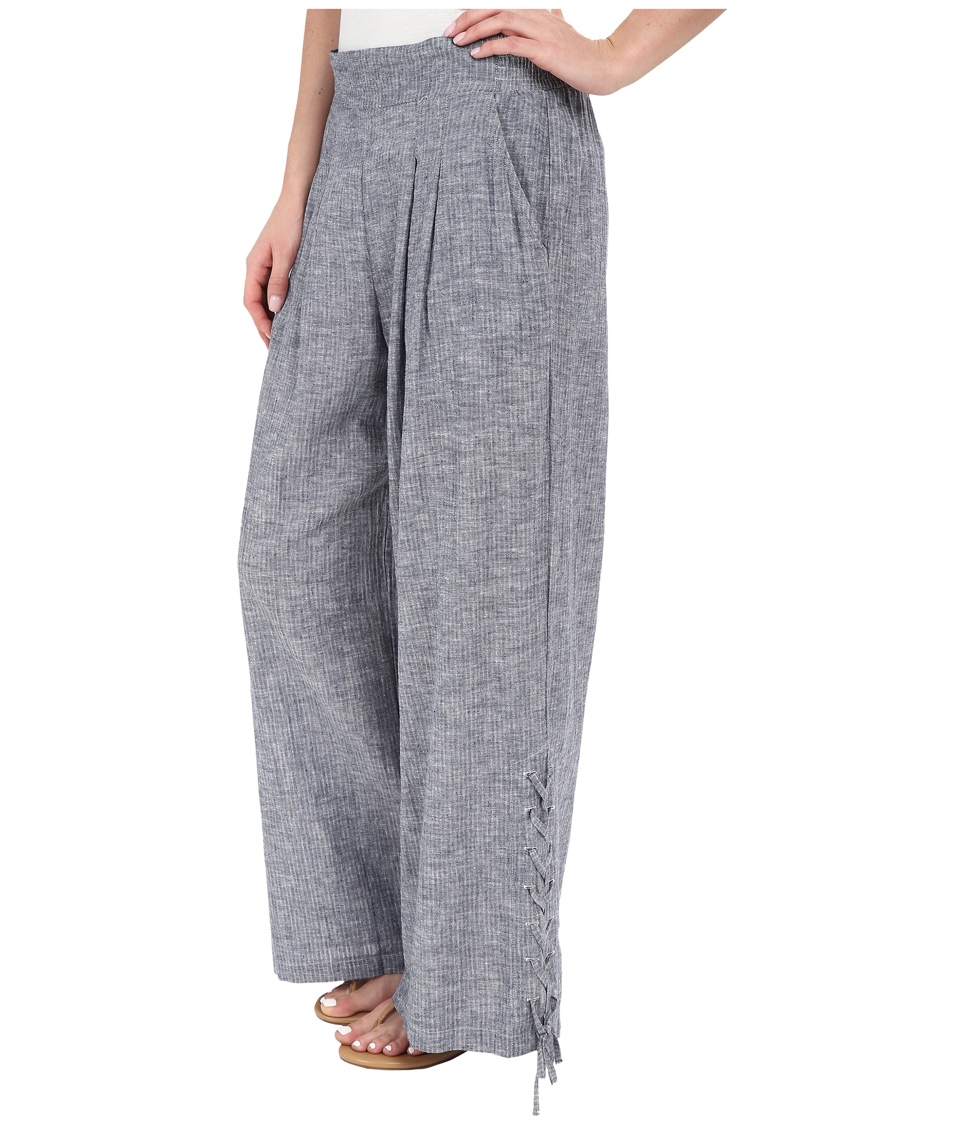 Miraclebody Lil Cropped Wide Leg Pull-on Pants in Blue | Lyst