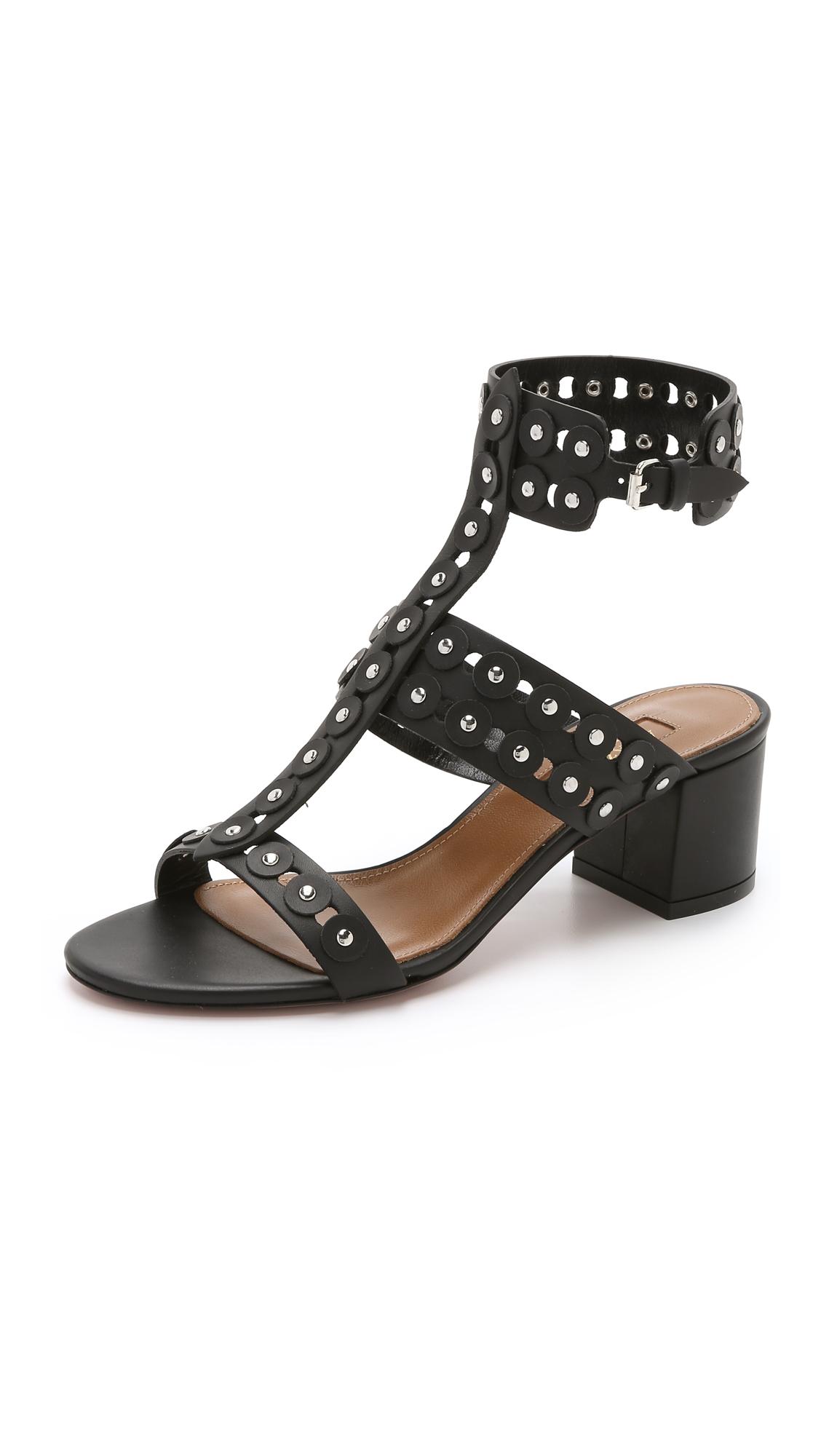 Aquazzura Rebel Studded Sandals Black In Black Lyst