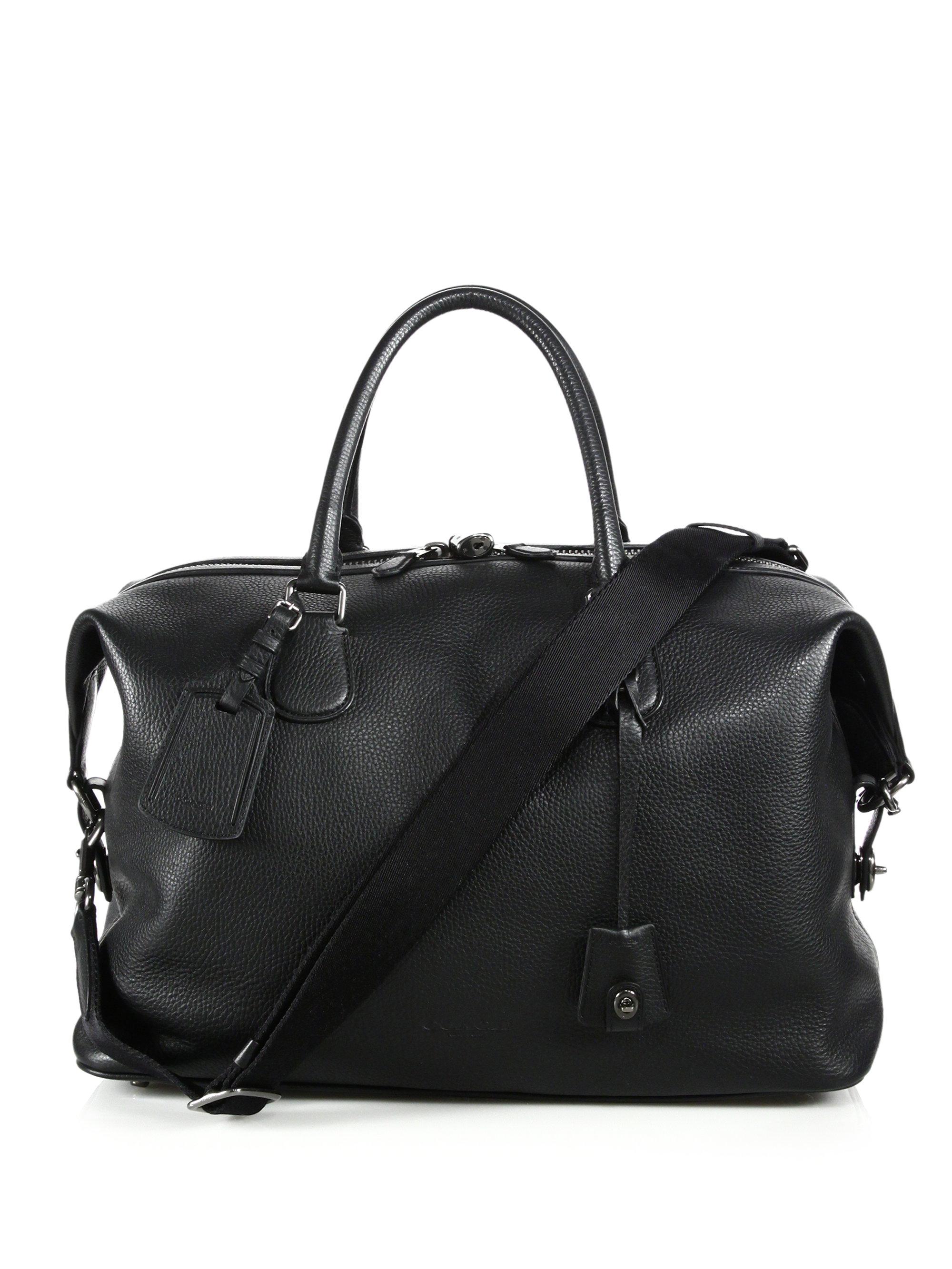 Coach Explorer Leather Duffel Bag In Black For Men Lyst