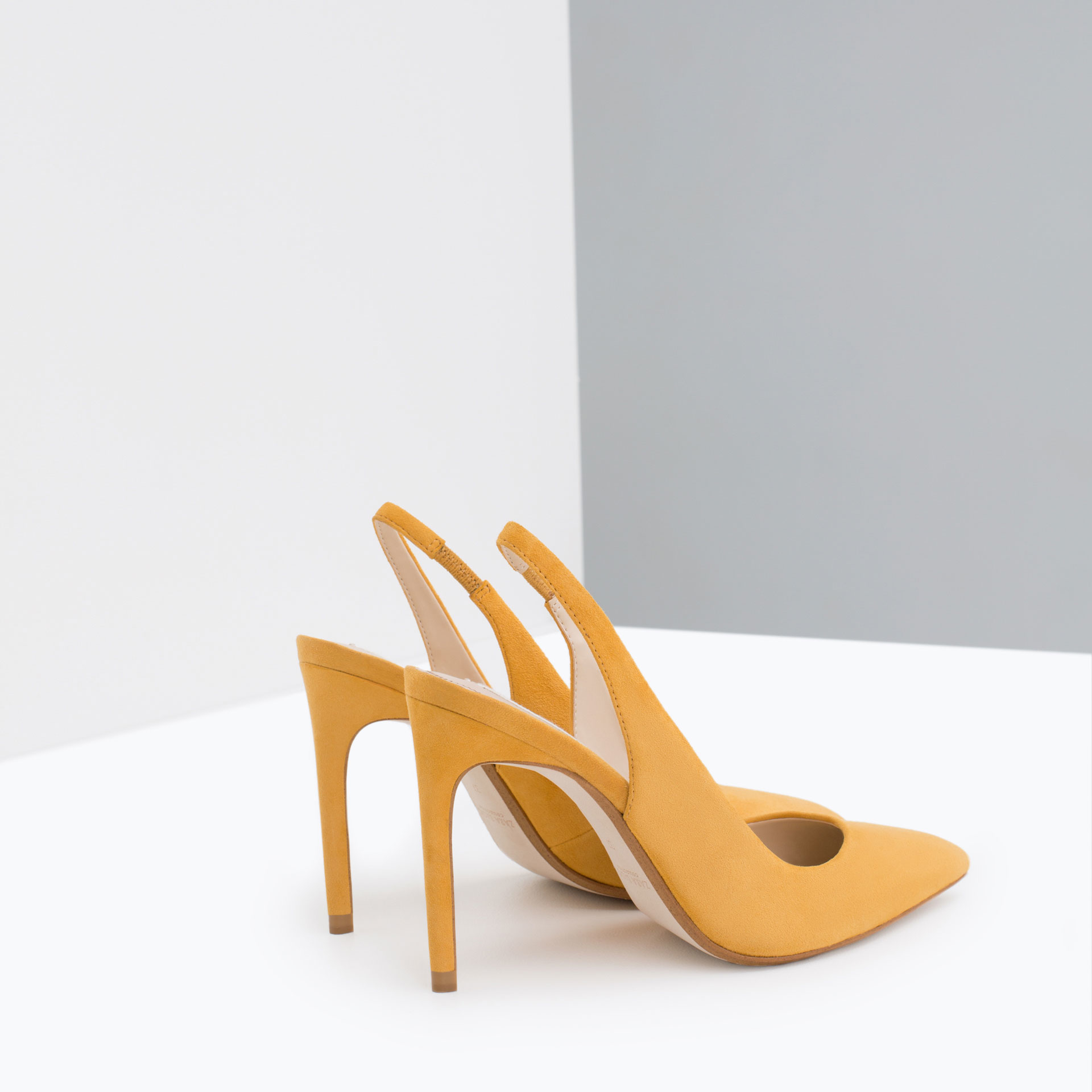 Zara Leather High Heel Shoes Mustard