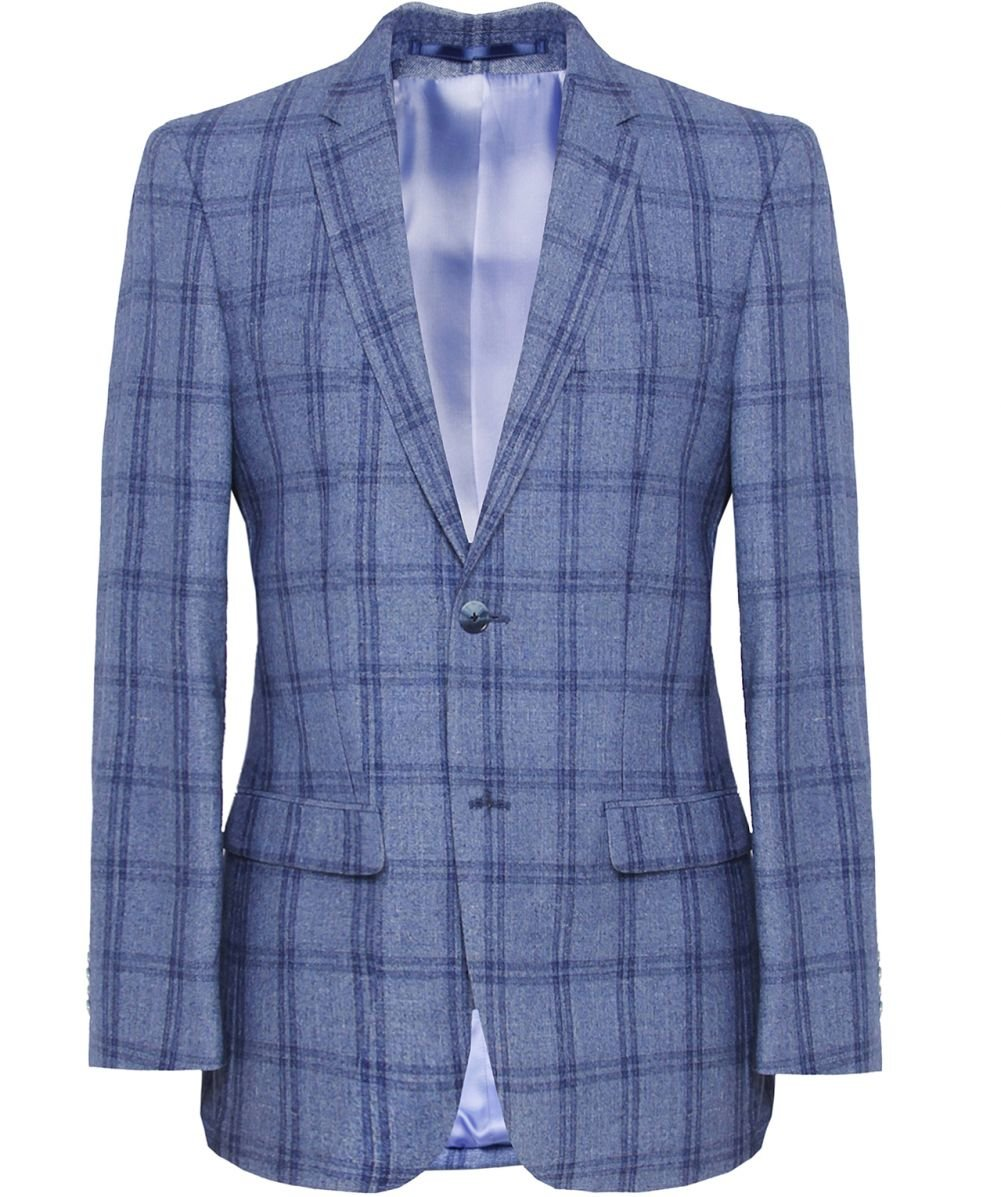 lyst jules b wool windowpane check jacket in blue for men. Black Bedroom Furniture Sets. Home Design Ideas
