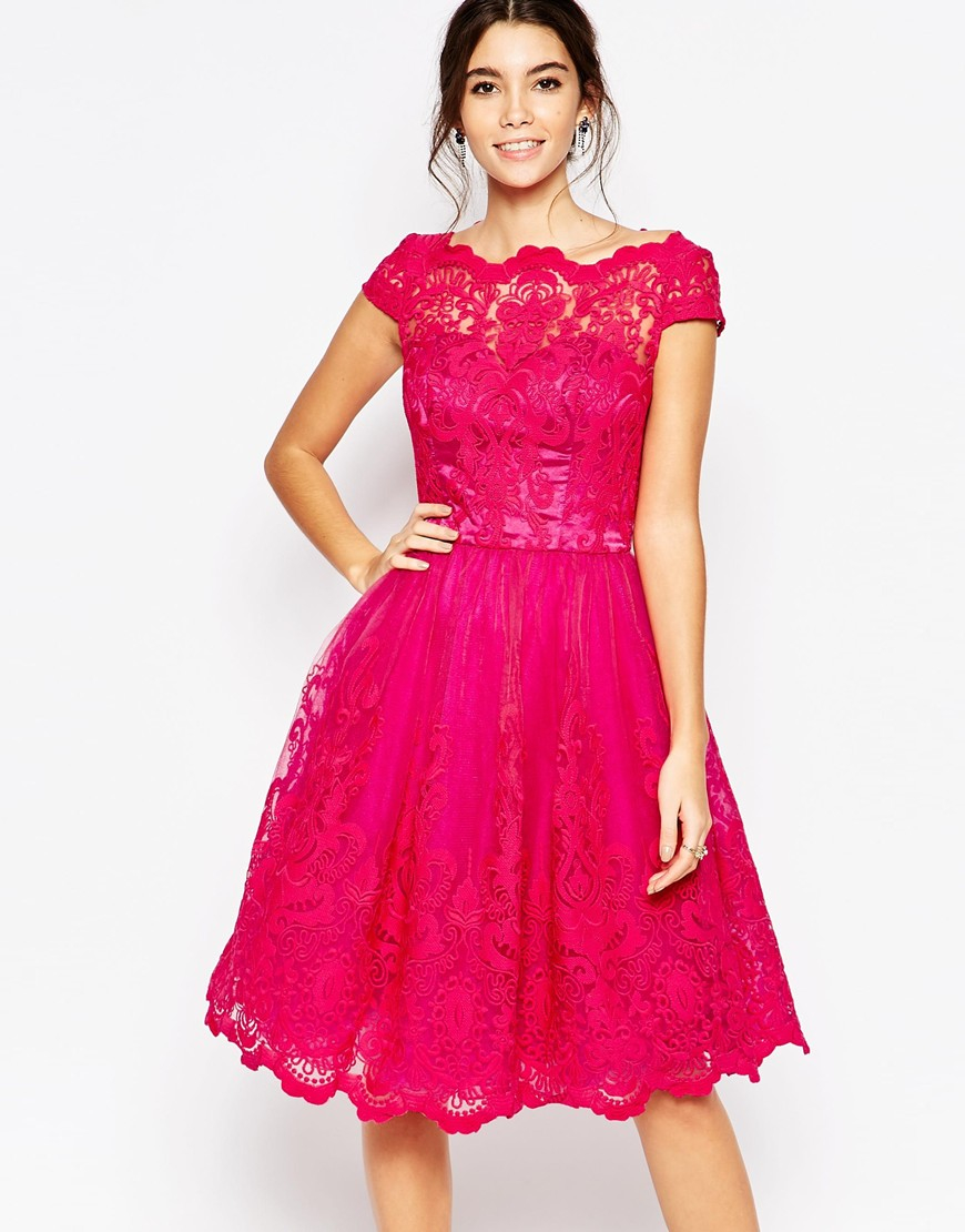Lyst Chi Chi London Scalloped Lace Prom Dress In Pink
