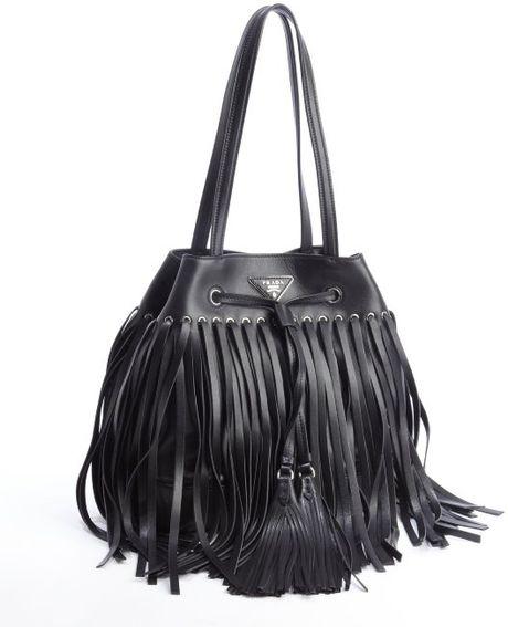 prada nylon tote handbag - Black Handbag: Black Leather Fringe Handbag