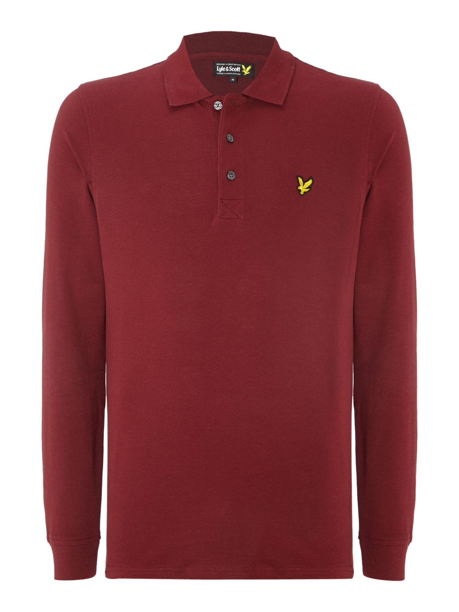 Lyle scott regular fit classic long sleeve polo shirt in for Long sleeve purple polo shirt
