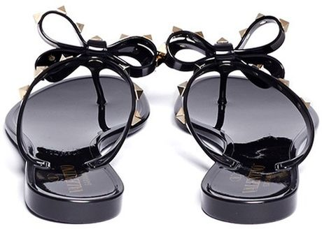 Valentino Studded Bow Flat Jelly Sandals In Black Lyst