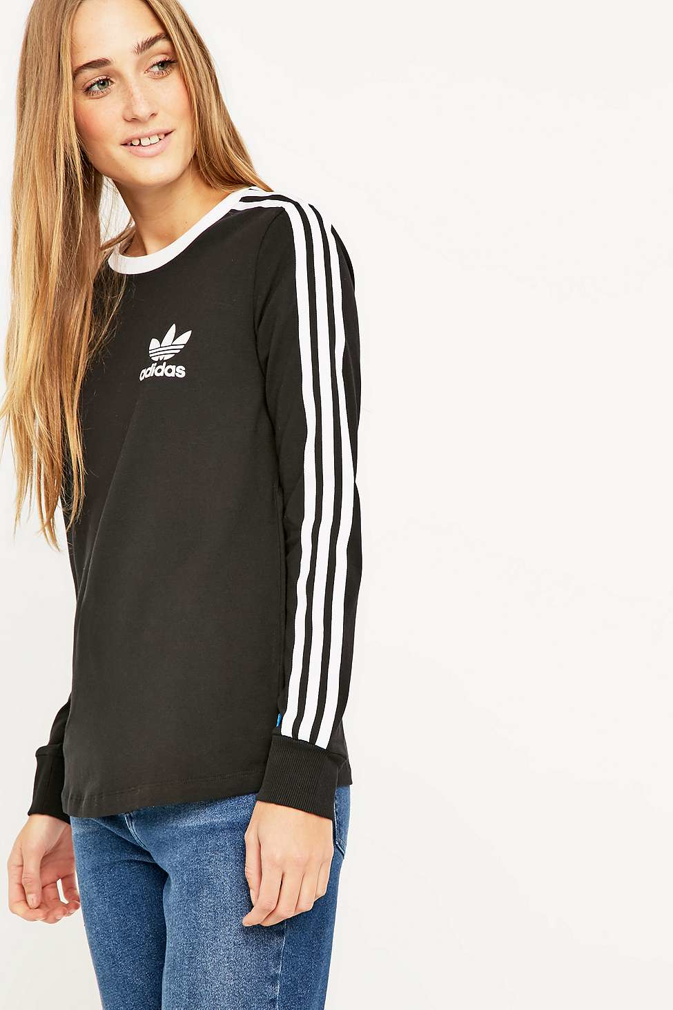 adidas originals red three stripe long sleeve t-shirt