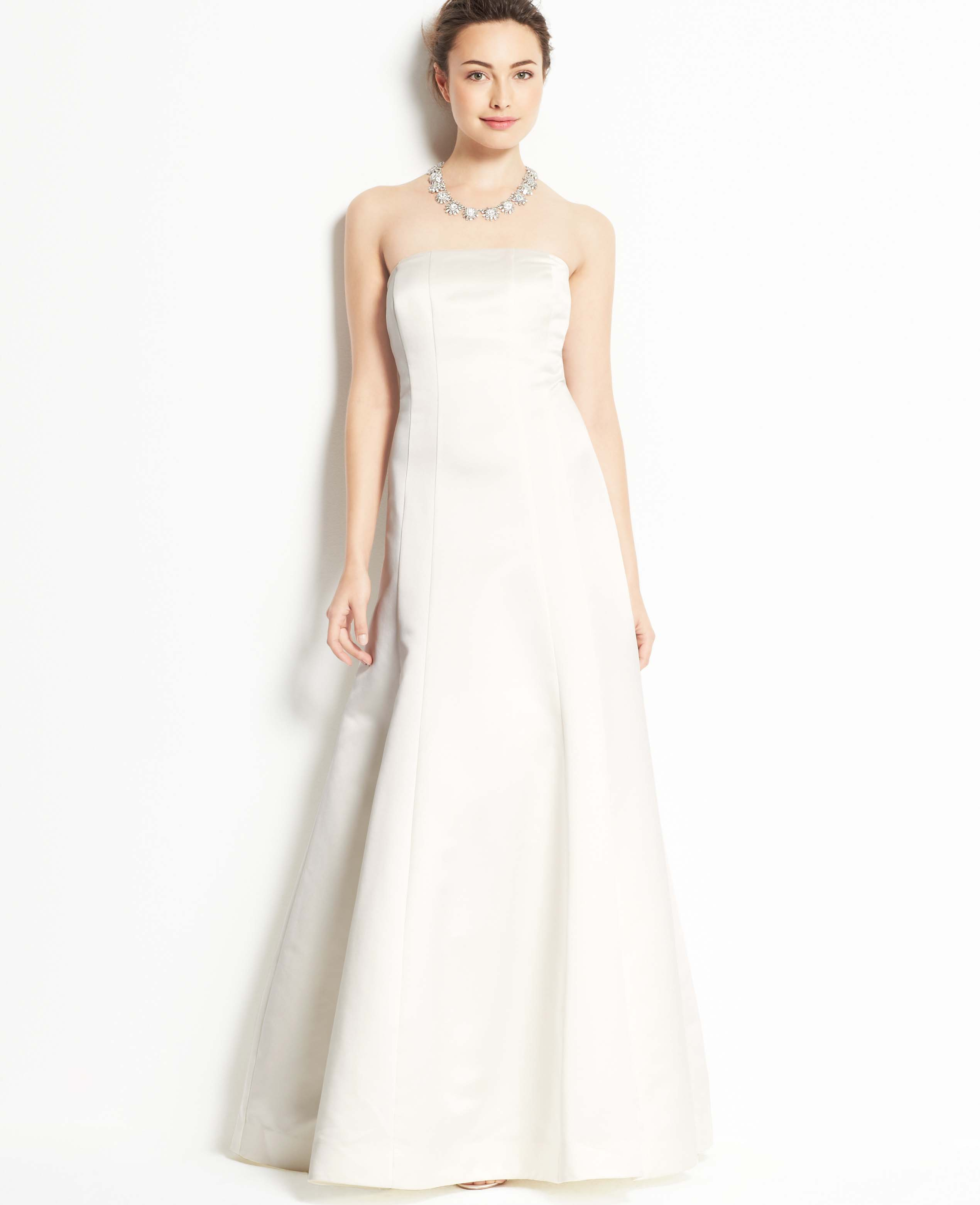 Lyst ann taylor duchess satin strapless wedding dress in white gallery ombrellifo Images