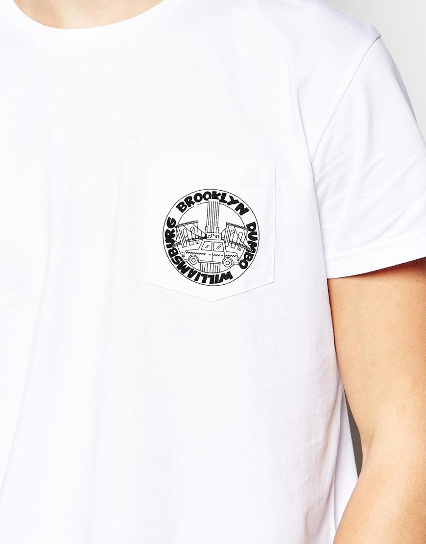 Lyst Brooklyn Supply Co T Shirt One Pocket Logo Print In White