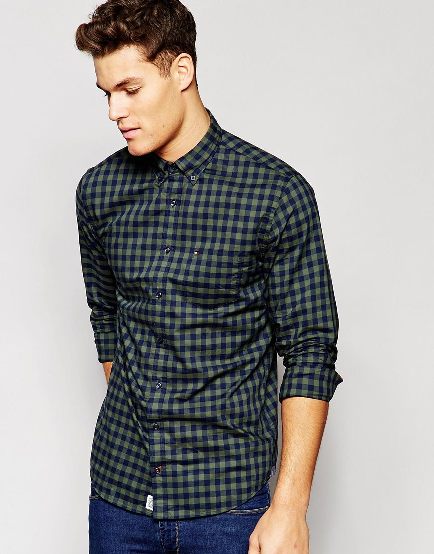 tommy hilfiger large gingham check shirt with button down. Black Bedroom Furniture Sets. Home Design Ideas