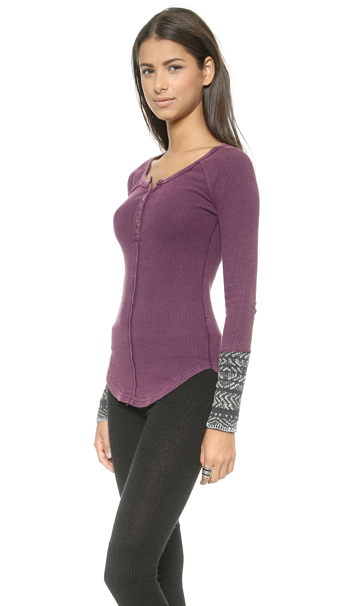 6742cce9e0b9 Free People Alpine Cuff Newbie Thermal Top - Black in Purple - Lyst