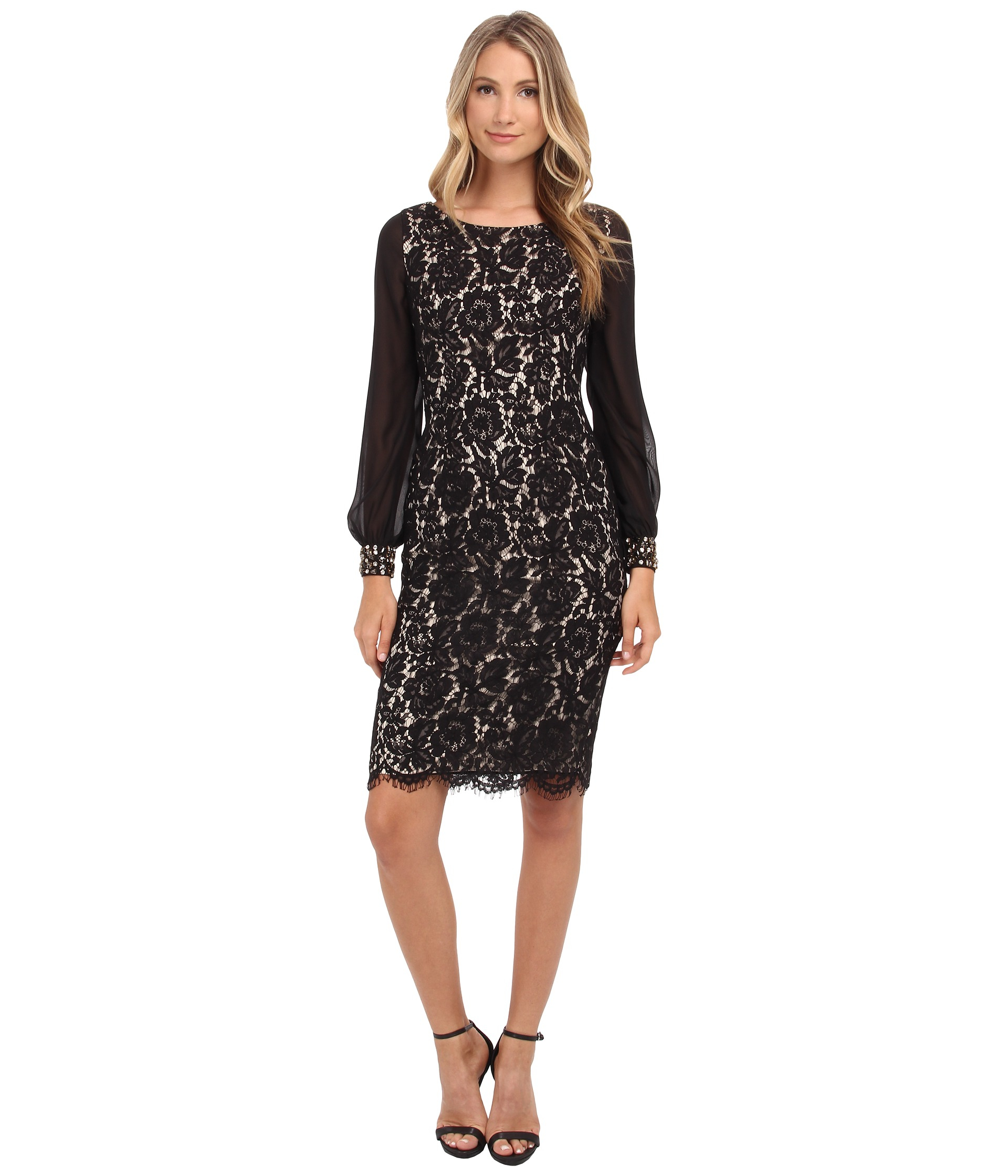 a11f130a Eliza J Lace Sheath Dress With Chiffon Bell Sleeves in Black - Lyst