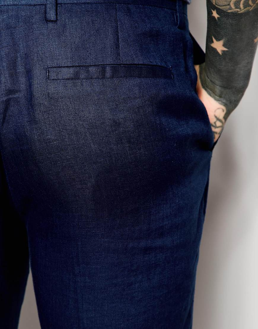 Navy Blue Linen Pants For Men - Jon Jean