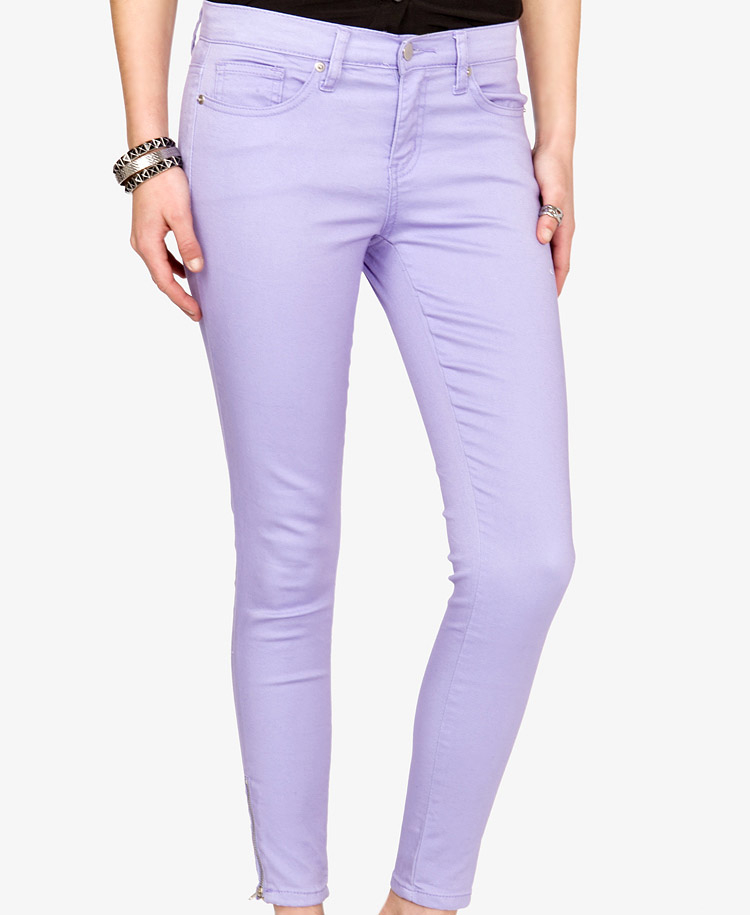 Forever 21 Colored Zippered Skinny Jeans in Purple | Lyst