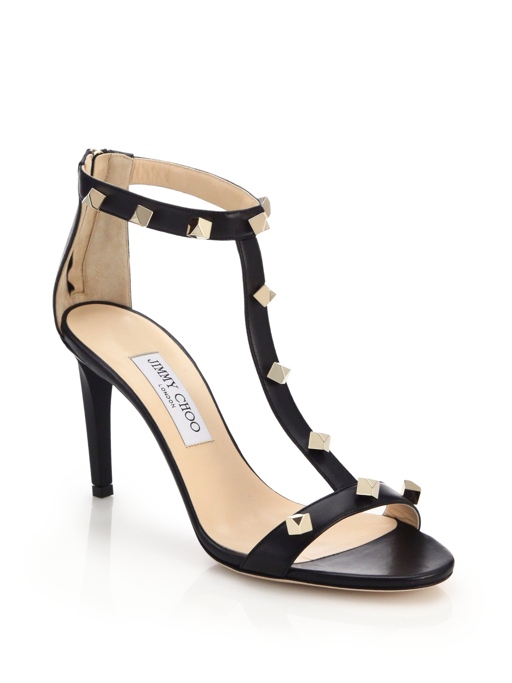 3f26803cde83 ... coupon lyst jimmy choo lamba studded leather sandals in black 29099  aaccf