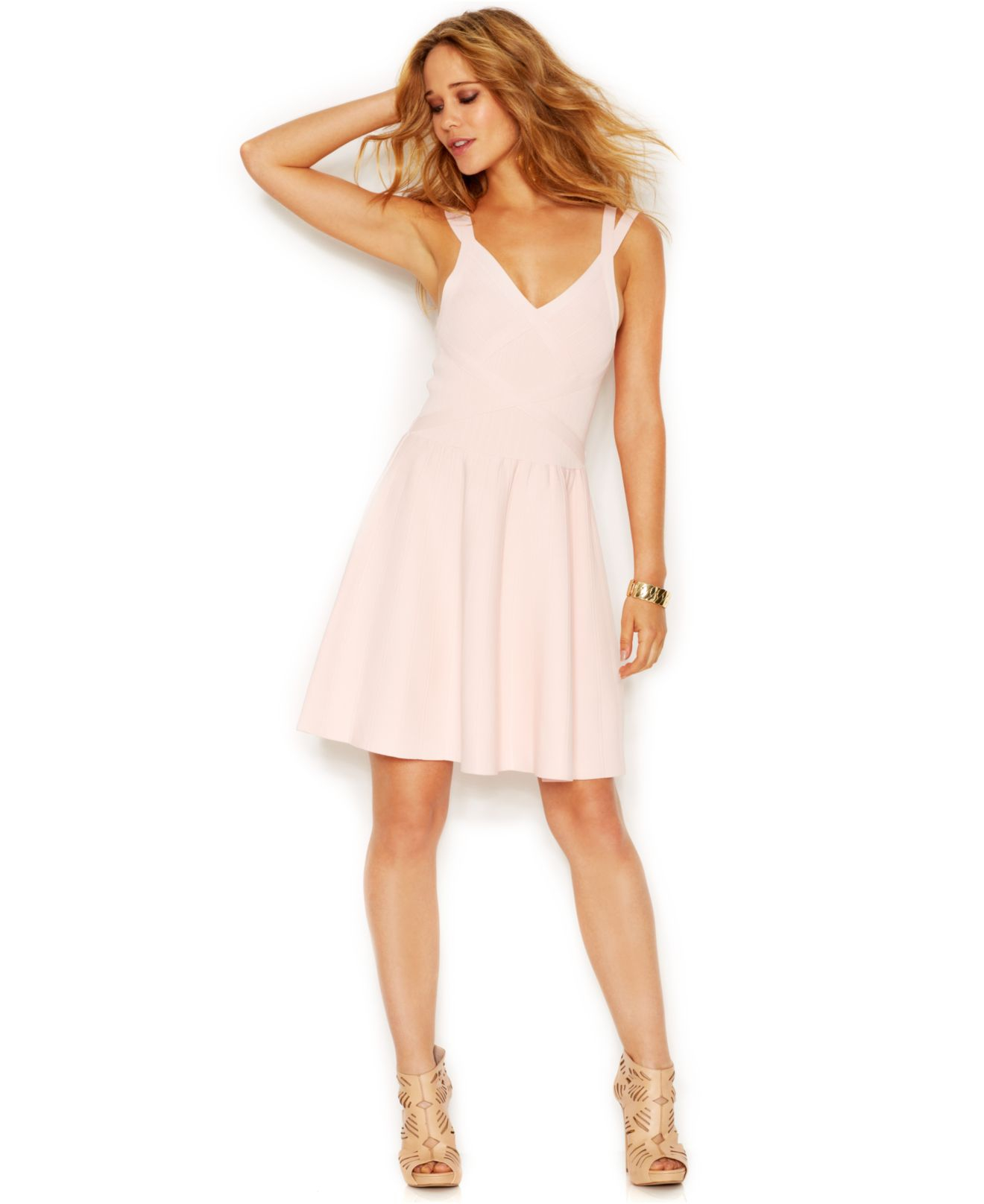 Guess Double-Strap Flared Bandage Dress in Pink | Lyst
