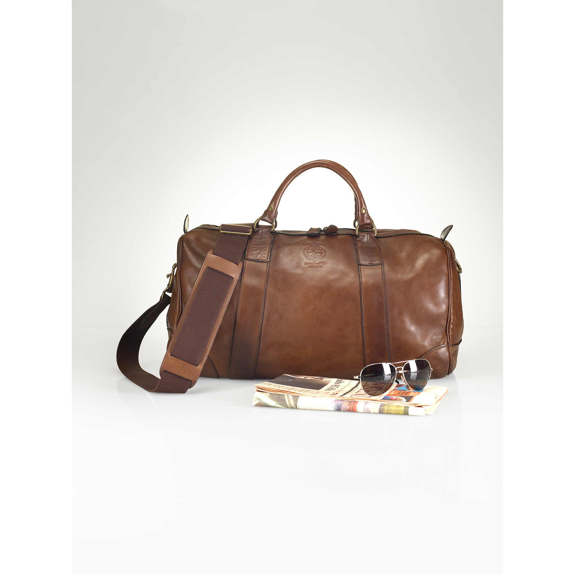570e957c11 Lyst - Ralph Lauren Leather Duffel Bag in Brown for Men