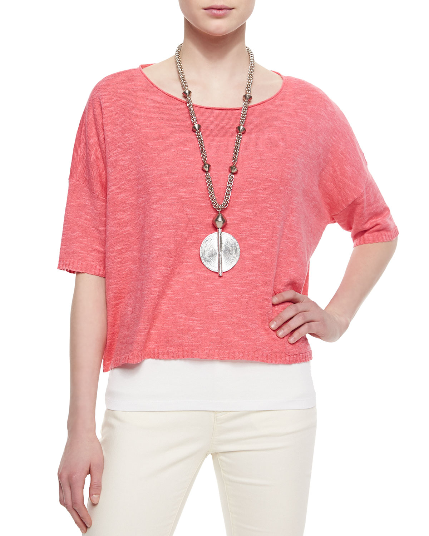 Eileen Fisher 3 4 Sleeve Linen Blend Short Box Top In Red