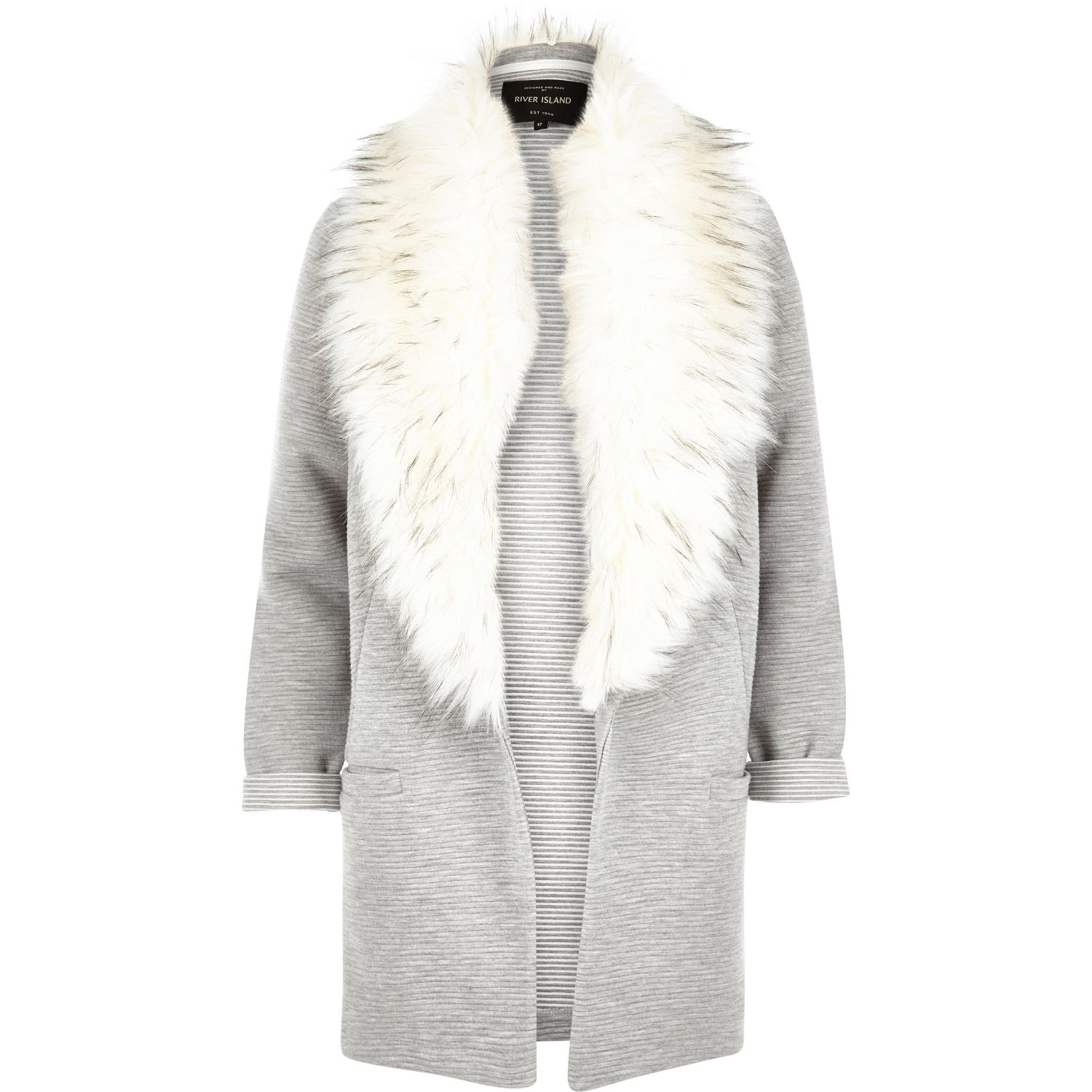 River Island Parka With Faux Fur Collar In Black