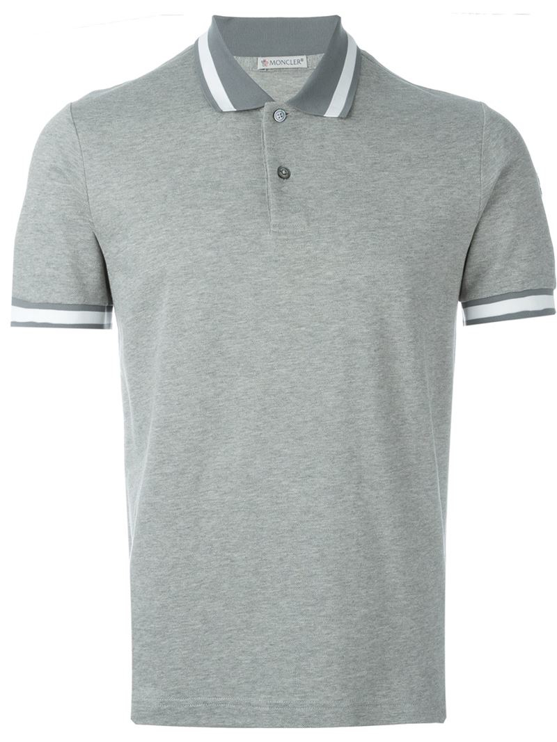 moncler classic polo shirt in gray for men lyst. Black Bedroom Furniture Sets. Home Design Ideas