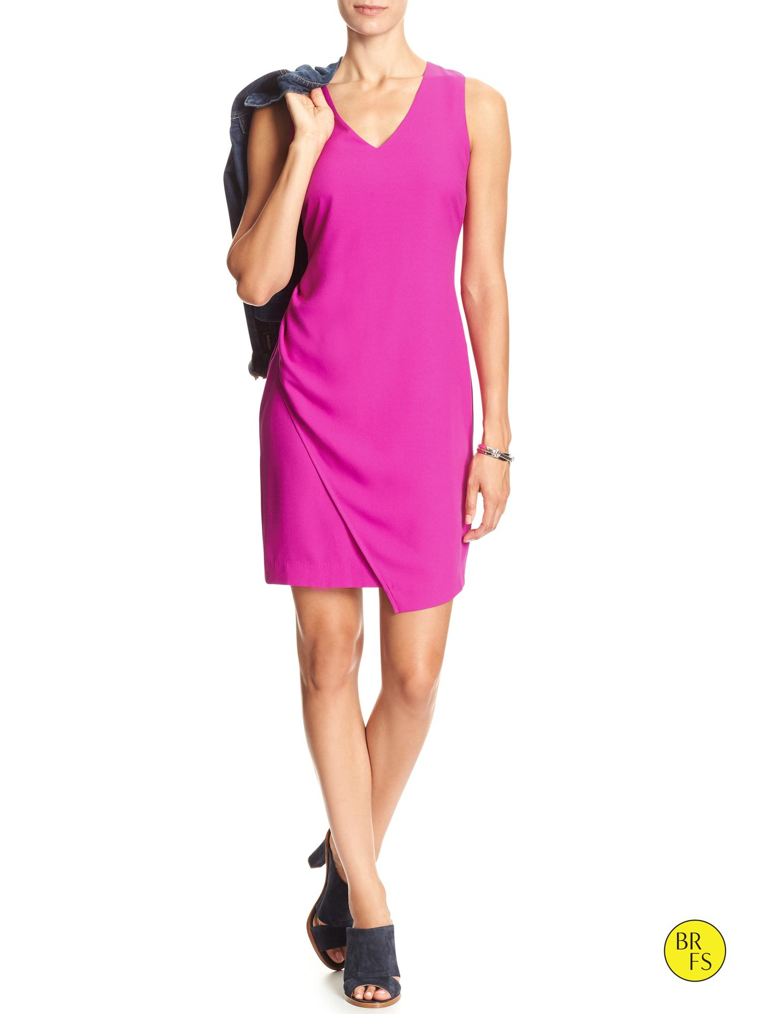 Banana Republic Factory Crepe Dress In Pink Neon Fuschia