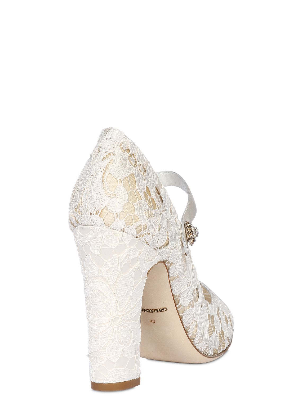 Cream Mid Heel Mary Jane Shoes