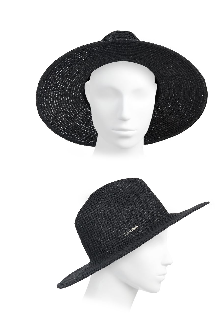 03bcdc09fea Lyst - Calvin Klein Sequined Panama Hat in Black