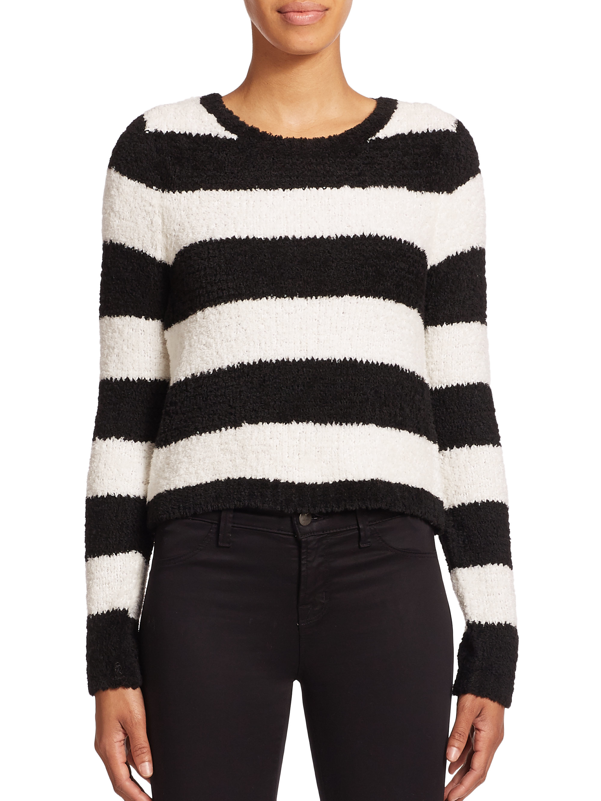 Alice   olivia Carl Fuzzy Cropped Striped Sweater in White | Lyst