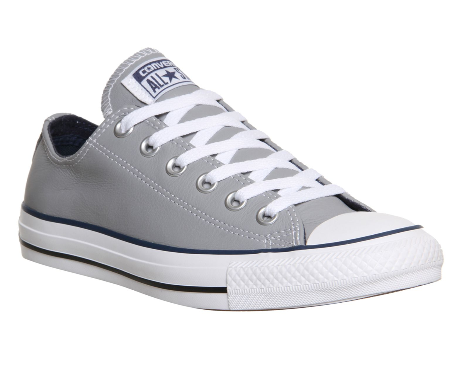 Converse allstar low leather trainer in gray grey lyst - Graue converse ...