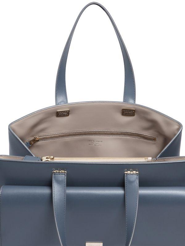 Lyst - Giorgio Armani Charniere Doree  Leather Top Handle Bag in Gray 22bc24f7b4