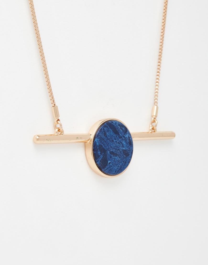 Lyst pilgrim blue stone statement bar necklace in metallic aloadofball Choice Image