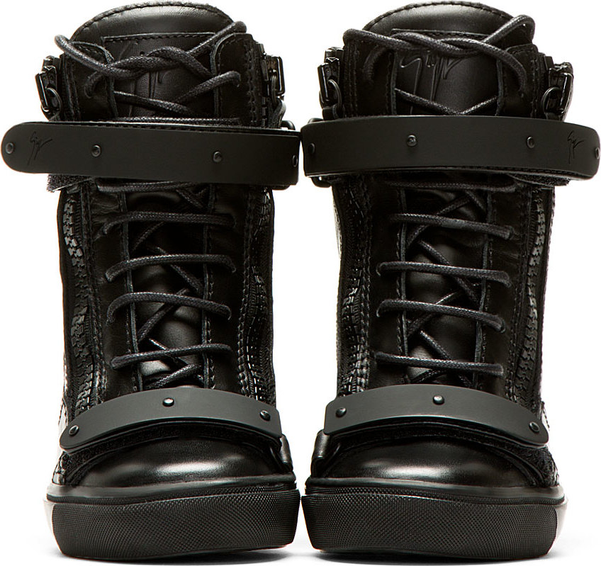b660b81a01dd Lyst - Giuseppe Zanotti Black Leather Wedge Lorenz High Top Sneakers ...