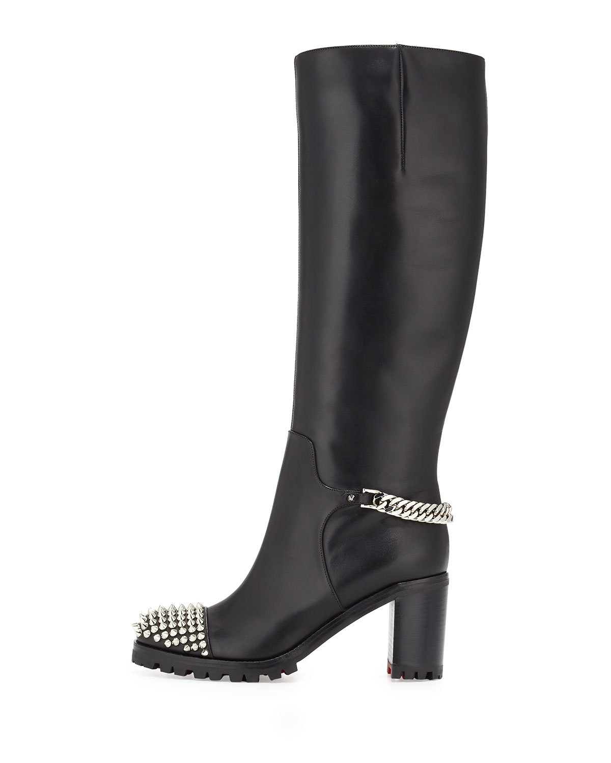 cl shoes - Christian louboutin Napaleona Spiked-toe Red Sole Knee Boot in ...