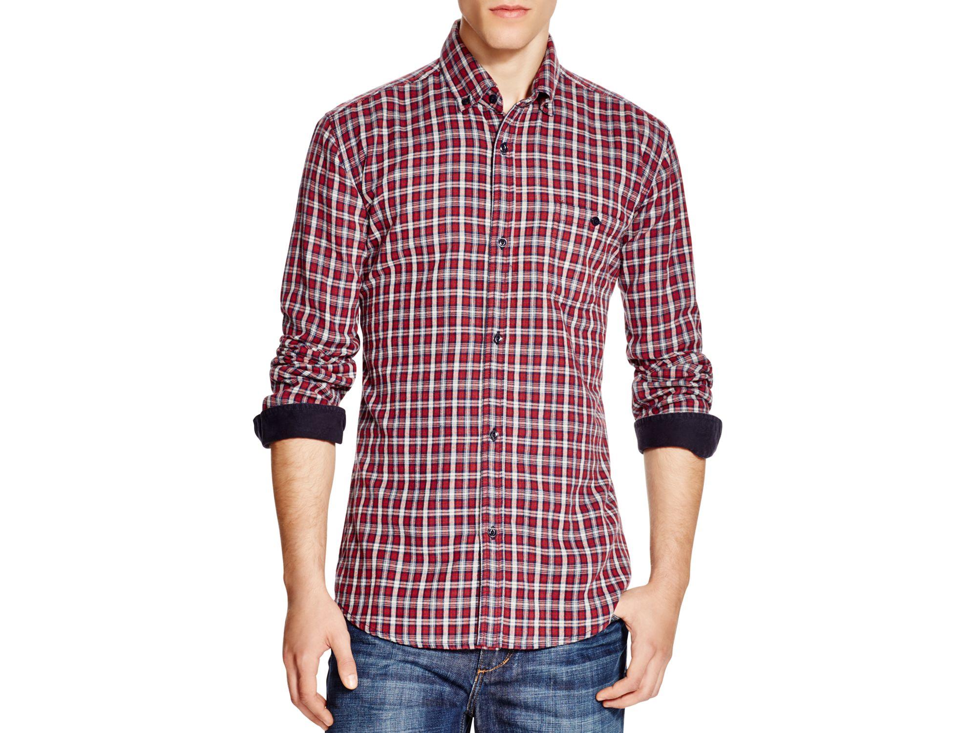 Velvet plaid regular fit button down shirt in red for men for Red velvet button up shirt