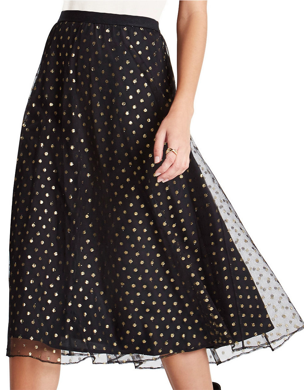 Bcbgeneration Metallic Dot Midi Tulle Skirt in Black | Lyst