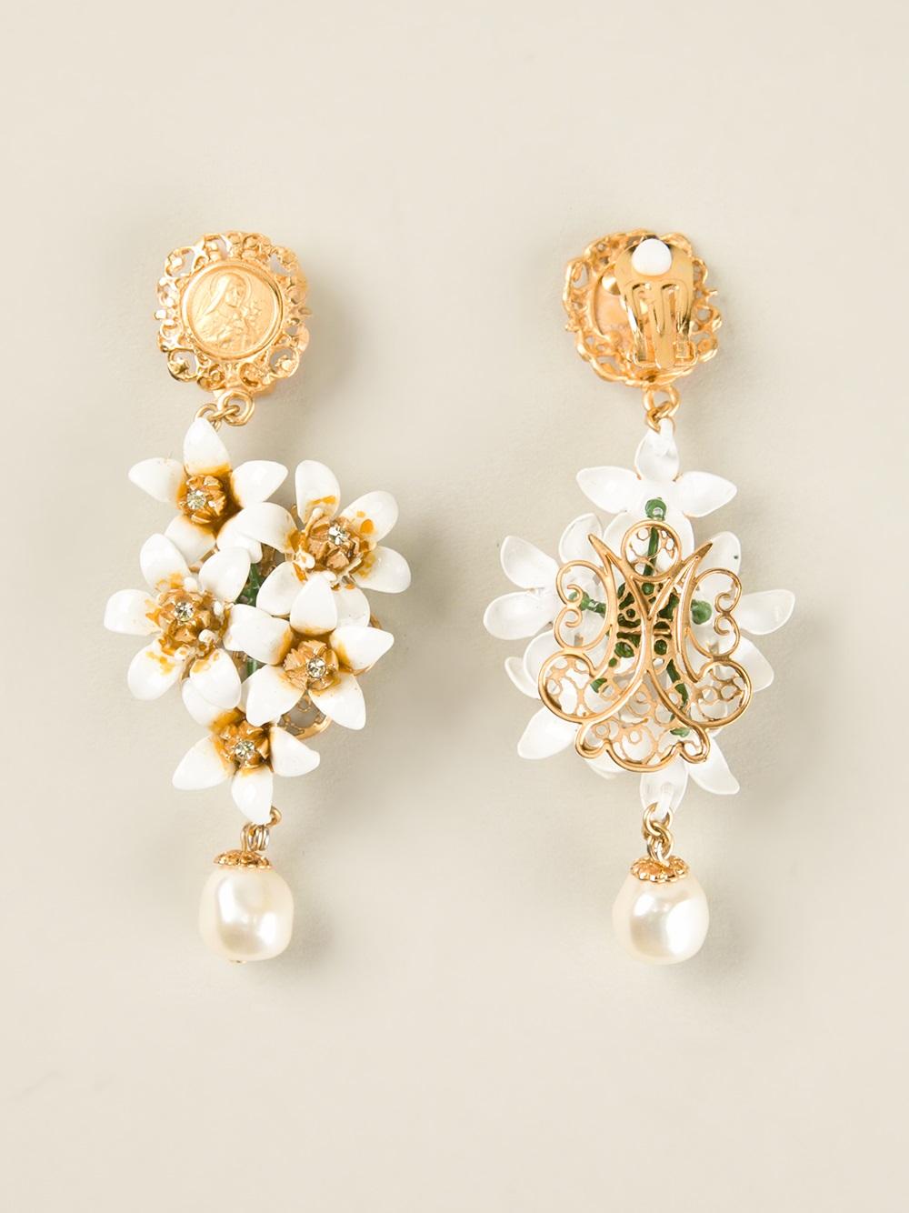 f4ba9f2a0 Dolce & Gabbana Dropped Floral Earrings in Metallic - Lyst
