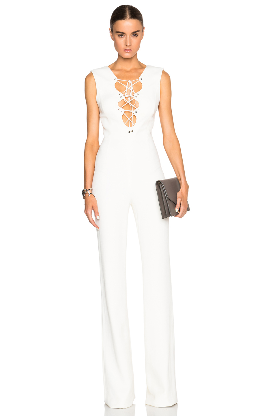 Emilio pucci Lace Up Jumpsuit in White | Lyst